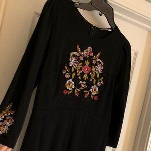 Loft Dress with beautiful floral stitching.